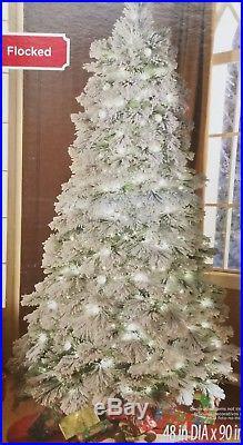 NEW PreLit 7.5 FOOT Northeastern Fir Christmas Tree FLOCKED Clear Lights