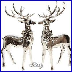 NEW! RAZ Imports17 SILVER DEERSet 2Christmas Reindeer FigurineCenterpiece
