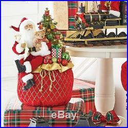 NEW! RAZ Imports22.5 Lighted Christmas Toy Bag/Sack with Santa &TreeDecorated