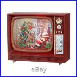 NEW Raz 9.75 LED Lighted Musical Retro TV Santa Spinning Water Globe Figure
