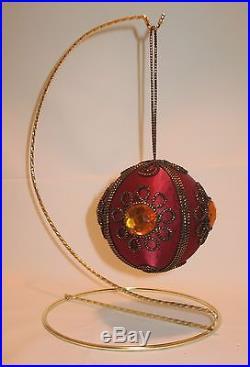 New-stunning Burgundy & Gold Satin/velvet Jeweled Christmas Ball Ornament