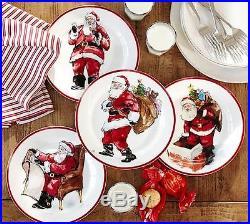 NEW S/8 Pottery Barn PAINTED SANTA CLAUS DINNER PLATE +8 Napkin +VELVET RUNNER