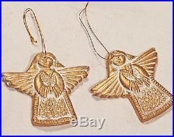 NEW Set of 3 Beautiful Ceramic Gold&White Angel Christmas Tree Holiday Ornaments