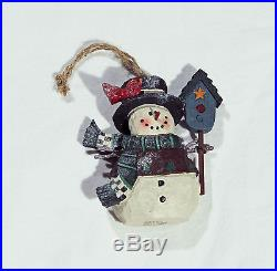 NEW Set of 3 Christmas Tree Ornaments Glittery Snowman & Santa Claus Holiday