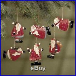 NEW Set of 6 Painted Tin Santa Folk Decoration Christmas Ornaments