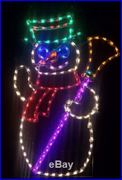 NEW Snowman with Broom Christmas Winter Outdoor LED Lighted Decoration Wireframe
