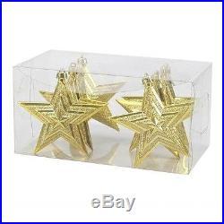 NEW St. Nicholas Square 6-Piece Star Shatterproof Ornament Set Gold Glitter