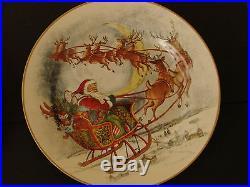 NEW Stoneware S/8 Pottery Barn NOSTALGIC SANTA DINNER PLATES Christmas Holidays