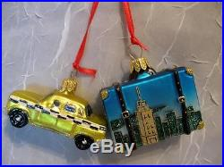 NEW YORK SUITCASE & TAXI CAB GLASS CHRISTMAS ORNAMENTS- NORDSTROM NEW POLAND