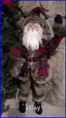 NIB 26 Rustic SANTA Red Gray Brown Jingle Bell CHRISTMAS FIGURE Display Prop