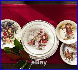 NIB 8 NEW Pottery Barn NOSTALGIC SANTA DINNERWARE set/ 8 SALAD Plates CHRISTMAS