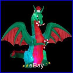 NIB 9′ Christmas Dragon w Candy Canes Inflatable Airblown Yard Decor