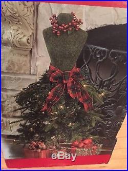 NIB Dress Form Pre-lit Tree Manaquin 3 Ft Window Store Display Stand Xmas NEW