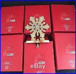 NIB Lenox Holiday Christmas SNOWFLAKE Stocking Holders Gold Heavy Metal Set/12