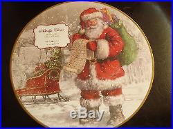 NIB NEW Pottery Barn NOSTALGIC SANTA DINNERWARE set/ 12 SALAD Plates CHRISTMAS