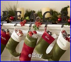 NIB Pottery Barn 5Pc PEACE Bronze STOCKING Holder Set CHRISTMAS Alphabet