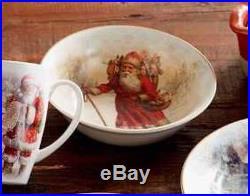 NIB Pottery Barn S/8 NOSTALGIC SANTA 4 DINNER Plates & 4 BOWLS CHRISTMAS