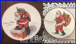 NIB Pottery Barn S/8 PAINTED SANTA CLAUS 4 SALAD & 4 DINNER Plates CHRISTMAS