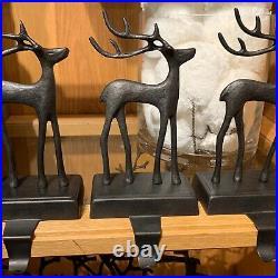 NIB Pottery Barn Set/3 SANTA'S REINDEER Stocking Holder CHRISTMAS Bronze DEER