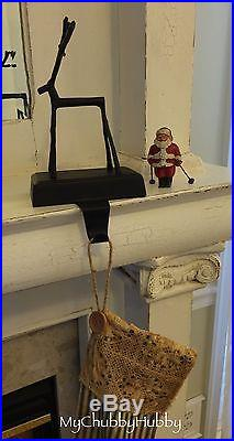 NIB Pottery Barn Set/4 BRONZE TWIG REINDEER Stocking Holders CHRISTMAS