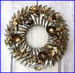 NWT Anthropologie Brass Metal Hammered Floral Garland Door Wreath 24 RD
