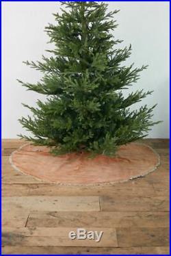 NWT Anthropologie Terrain Christmas Tree Skirt Pink Velvet Cotton 60 Holiday