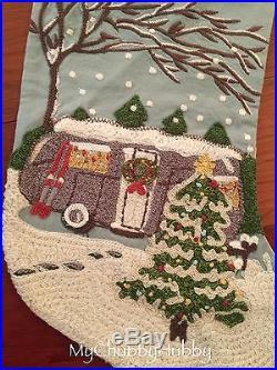 NWT & NO Mono Pottery Barn CAMPER Crewel STOCKING CHRISTMAS TREE Airstream