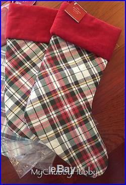 NWT Pottery Barn S/4 DENVER PLAID Stockings CHRISTMAS Red & Green NO Mono