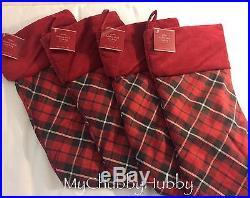 NWT Pottery Barn S/4 LANDON PLAID Stockings CHRISTMAS Red & Black NO Mono