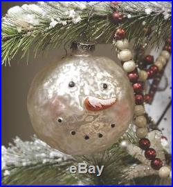 NWT Ragon 3.5 Primitive Frosty SNOWMAN HEAD Heavy Glass CHRISTMAS ORNAMENT