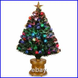 National Tree 36 Inch Fiber Optic Ornament Fireworks Tree with Gold Top Star