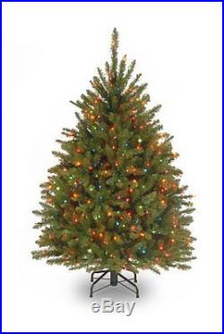 National Tree 4 1/2 Dunhill Fir Tree, Hinged, 450 Multi-Colored Lights DUH-45RLO