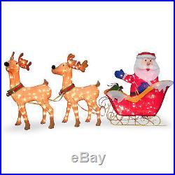 National Tree Co. Santa with 2 Deer Sleigh Christmas Decoration
