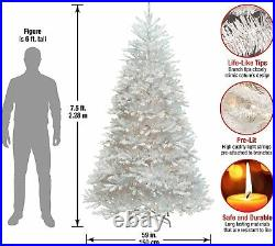 National Tree Company Dunhill White Fir 7.5 Foot Prelit Christmas Tree and Stand