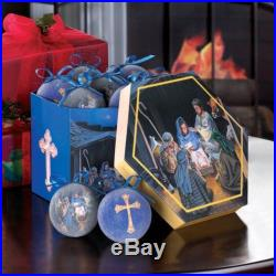 Nativity Christmas Tree Frosted Ornaments Set of 14 Decorations Colorful Box