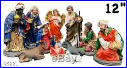 Nativity Set 12Jesus, Mary, Joseph, Shepherd, Guardian Angel, Three Kings & Anima