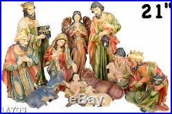 Nativity Set 21 Jesus, Mary, Joseph, Shepherd, Guardian Angel, Three Kings & Anima