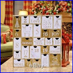 Nature Wood Advent Calendar with 25 Storage Drawers Countdown to Christmas