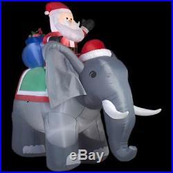 New 10.6′ LED Santa on Elephant Airblown Christmas Inflatable Holiday Yard Decor