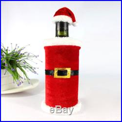 New 2Pcs Christmas Santa Clause Clothing Hat Dress Wine Bottle Cover Decoration