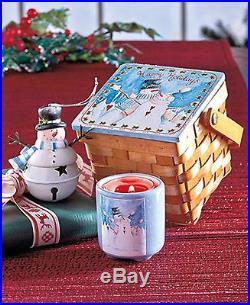 New! 3 pc HOLIDAY Gift Set CHRISTMAS ORNAMENT Candleholder Basket SNOWMAN