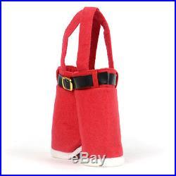 New Buckram Santa Pants Handbag Candy/Christmas Gift Bag Xmas Decor Ornament