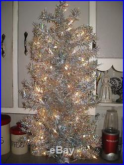 New Carson Silver Pine Tree Pre lighted Holiday Time 3 1/2 ft. Tensel