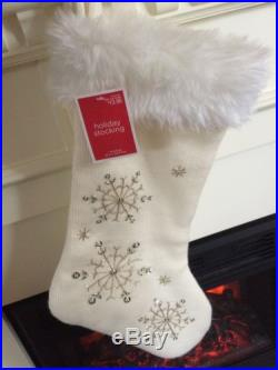 New Christmas Holiday Stocking Ivory White Fur Frozen Beaded Snowflake Sequin
