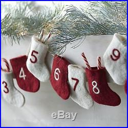 New Crate & Barrel Christmas Countdown stockings number ornament Advent Calendar