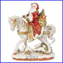 New! Fitz & Floyd Damask Holiday Christmas Santa On Horse Figurine #19-608