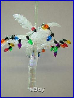 New Gallerie II Glass White Decorated Palm Tree Christmas Lights Beach Ornament