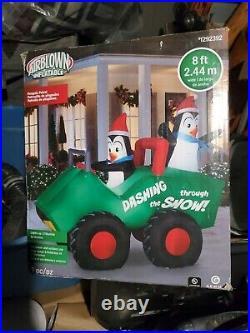 New Gemmy 8 ft Penguin Patrol Santa Hat Scene Christmas Airblown Inflatable