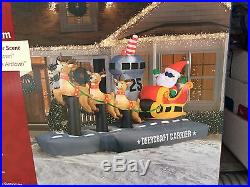 New Gemmy Lighted 13 Ft Santa Sleigh Aircraft Carrier Airblown Inflatable