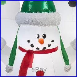 New Inflatable Snowman Family Christmas Decoration Outdoor Yard Decor Light Up